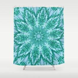 Vintage Doily Teal Green Kaleidoscope Shower Curtain