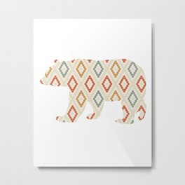 BEAR SILHOUETTE WITH PATTERN Metal Print
