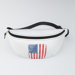 American Flag With A Minimal Illustration Of A Guitar T-shirt Design White Musician Band Muscians Fanny Pack