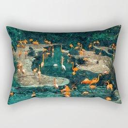 Flamingo Creek #flamingo #tropical #illustration Rectangular Pillow