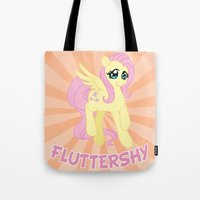 mlp Tote Bags featuring MLP FiM: Fluttershy by Yiji