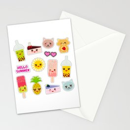Hello Summer. Pineapple, cherry smoothie cup, ice cream, sun, cat, cake, hamster. Kawaii cute face. Stationery Cards