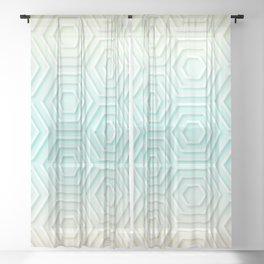 3D Hexagon Gradient Minimal Minimalist Geometric Pastel Soft Graphic Sheer Curtain