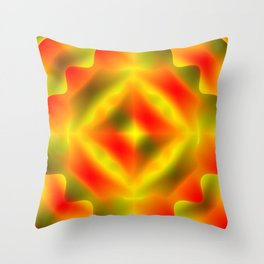 Bright pattern of blurry red and green flowers in a dark kaleidoscope. Throw Pillow