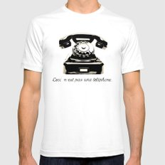 Ceci N'est Pas Une Téléphone. Mens Fitted Tee White SMALL