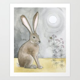 Hare and Cricket Art Print