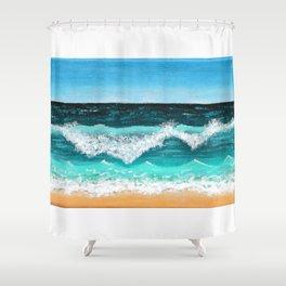 Beach Painting — Ocean Painting — Nautical Acrylic Painting — Ocean Eaves Crashing Design Shower Curtain