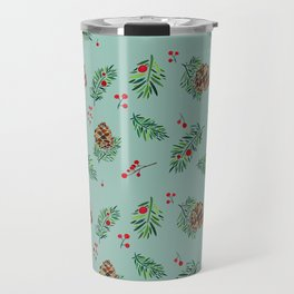 Winter Pinecones and Holly Berries / Watercolor Pattern Travel Mug