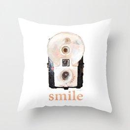 Retro Watercolor Camera SMILE! Throw Pillow