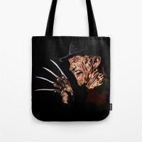 freddy krueger Tote Bags featuring Freddy by iankingart