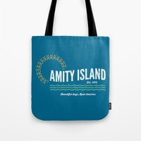 1975 Tote Bags featuring Amity Island Vintage 1975 - Jaws by Dukesman