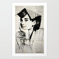audrey Art Prints featuring Audrey by Krzyzanowski Art