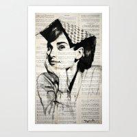 audrey Art Prints featuring Audrey by Krzyzanowski Art