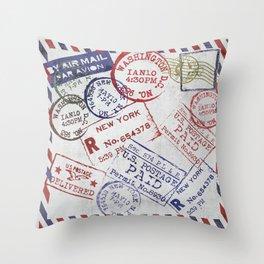 Vintage Postage Stamps grunge Design Throw Pillow