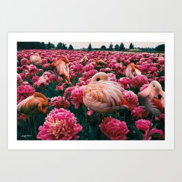 flamingos laugh in flowers Art Print