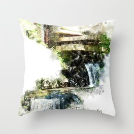 Fallingwater High, Watercolor Throw Pillow