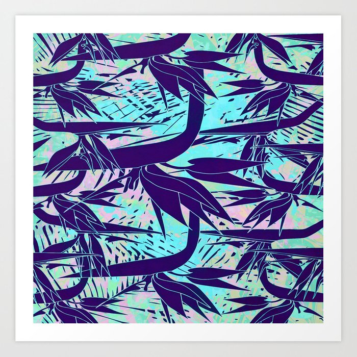 purple birds of paradise art print by clemm society6