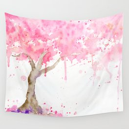 Watercolor Abstract Cherry Tree Pink Wall Tapestry