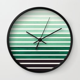 Watercolor Gouache Mid Century Modern Minimalist Colorful Deep Green Stripes Wall Clock