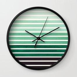 Watercolor Gouache Mid Century Modern Minimalist Colorful Deep Green Stripes Wall Clock