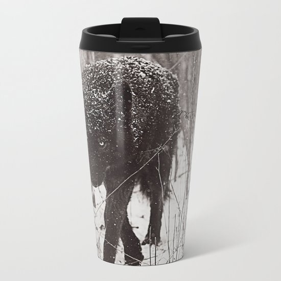 Snow Wolf Metal Travel Mug