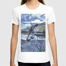Tipping Point -Skateboarder Launching - Outdoor Sports T-shirt