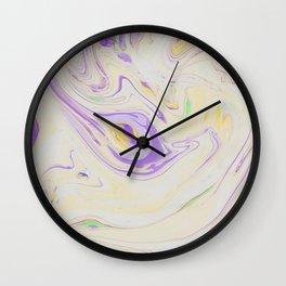 Modern pastel lavender purple yellow marble pattern Wall Clock