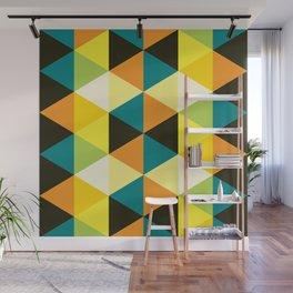 Geometric Pattern 60 (teal orange yellow triangles) Wall Mural