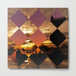 Puzzle of diamonds with two landscapes Metal Print