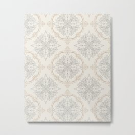 Modern Floral Damask Pattern – Neutral Brown and Gray Earth Tones Metal Print