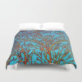 Coral Orange Duvet Cover