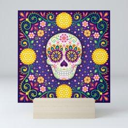 Sugar Skull with Flowers - Art by Thaneeya McArdle Mini Art Print