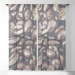 roasted coffee beans texture acrfn Sheer Curtain