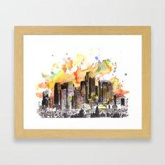 Los Angeles Cityscape Skyline Painting Framed Art Print