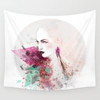 fashion illustration Wall Tapestries featuring FASHION ILLUSTRATION 3 by Justyna Kucharska