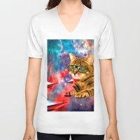 garfield V-neck T-shirts featuring Goddamn it Garfield  by Zarl