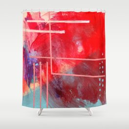 Jubilee: a vibrant abstract piece in reds and pinks Shower Curtain
