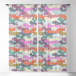 colored doggie pattern Sheer Curtain