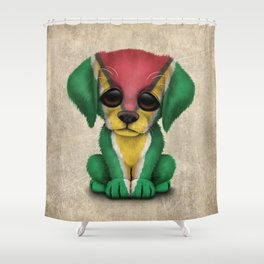 Cute Puppy Dog with flag of Guyana Shower Curtain