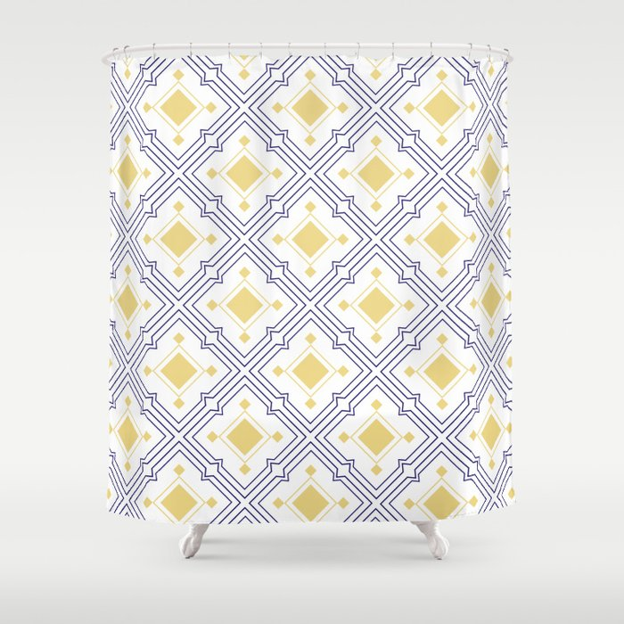 Mediterranean Tiles Blue And Yellow Shower Curtain By Athenaandolive