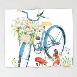 Blue bike & red poppy Throw Blanket