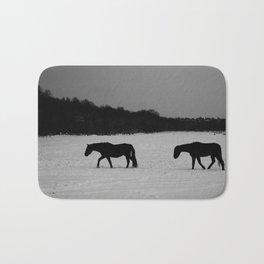 Horses On Snow Bath Mat