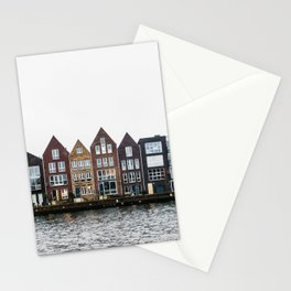 Iconic canal houses near Spaarne river in Haarlem in winter | Haarlem historical city, the Netherlands | Urban travel photography Art Print Stationery Cards