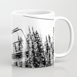 Empty Skilift // Black and White Snowboarding Dreaming of Winter Coffee Mug