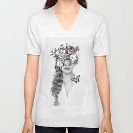 woman with flowers and butterflies 9a Unisex V-Neck