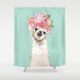 Llama With Flowers Crown 3 Shower Curtain
