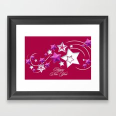 Fushia and Red Happy New Year Shooting Stars Framed Art Print