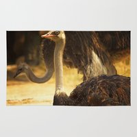 ostrich Area & Throw Rugs featuring Ostrich by Unfocussed