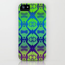 African Vintage Fabric Green Tone Gradient iPhone Case