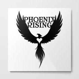 PHOENIX RISING black and heart center Metal Print